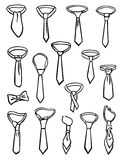 Set of ties. A set of silhouettes of different knots of neckties Stock Photography