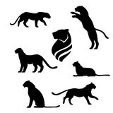 Set. Tiger set of black silhouettes. Icons and illustrations of animals. Wild animals pattern royalty free illustration