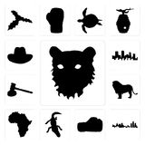 Set of tiger face outline on white background, michigan state boxing glove alligator background icons. Set Of 13 simple editable icons such as tiger face outline Royalty Free Stock Photos