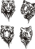 Set of tiger heads Stock Image