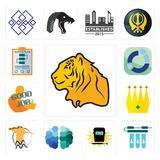 Set of tiger, water filter, welding, free brain, hoopoe, crown, good job, sector, action plan icons. Set Of 13 simple  icons such as tiger, water filter, welding Stock Image
