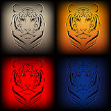 Set of  tigers in various colors Royalty Free Stock Photos