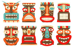 Set of tiki tribal mask Stock Images
