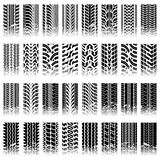Set of tileable tire track patterns Stock Photography