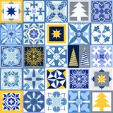 Mosaic Christmas background. Set of tiles with different ornaments. Snowflakes, stars, fir trees, classical patterns. White, blue, grey and yellow winter Stock Images