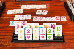 Set of tiles in rummy game rack Royalty Free Stock Photos