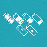 Set of tilted battery icons. Vector Stock Images