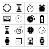 Set of time and clock. Isolated on white stock illustration