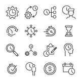 Set of 16 time management thin line icons. High quality pictograms of time. Modern outline style icons collection. Business, reminder, planning; start Stock Image