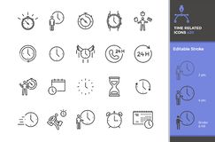 Set of 20 time related vector icons. Different types of time measurement instruments like clock, stopwatch, hourglass. Business,. Activities, sports and other stock illustration