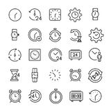 Set of 25 time thin line icons. High quality pictograms of clock. Modern outline style icons collection. Timer, watch, alarm, etc Royalty Free Stock Photo