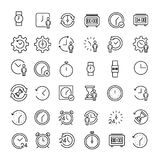 Set of 49 time thin line icons. Set of 36 time thin line icons. High quality pictograms of clock. Modern outline style icons collection. Timer, watch, alarm Stock Illustration