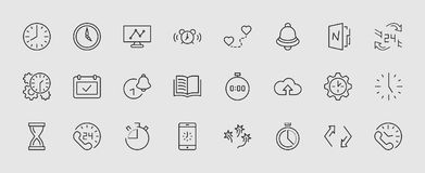 Set of Time Vector Line Icons. Contains such Icons as Timer, Speed, Alarm, Restore, Time Management and more. Editable royalty free illustration