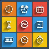 Set of 9 time web and mobile icons. Vector. Royalty Free Stock Photos