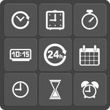 Set of 9 time web and mobile icons. Vector. Stock Photo