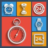 Set of 9 time web and mobile icons. Vector. Stock Image