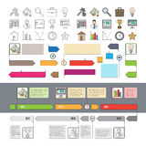 Set of Timeline Icons with Infographic Diagrams Stock Images