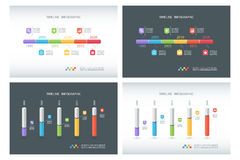 Set of timeline infographic design templates. Isometric template. 3D column chart. Box design infographic. Vector illustration for workflow layout, diagram Stock Photography