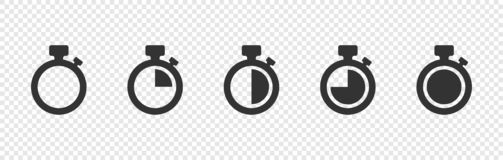 Set of Timer vector icons on transparent background. Countdown Timer vector icons stock illustration