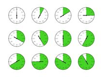 Set of timers. Full rotation arrow timer flat icons. Royalty Free Stock Images