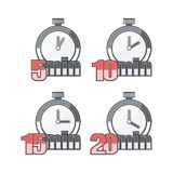Set of timers. Set of Watch on a White Background. On Watch Time is Determined. 5, 10, 15 and 20 minutes Royalty Free Stock Photo