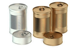 Set of tin cans Stock Images