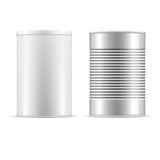 Set of tin cans. White tin can with cap. Set of tin cans. White tin can with white cap and metallic can. Vector realistic illustration Royalty Free Stock Photo