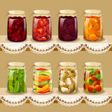 Set with tinned fruits, berries, vegetables on vintage shelf Stock Photo