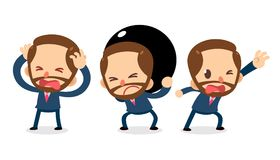 Set of Tiny businessman character in actions. Need help. Office life Royalty Free Stock Image