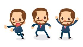 Set of Tiny businessman character in actions. Run away. Office life Royalty Free Stock Photos