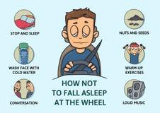 Set of tips to stay awake while driving. Sleep deprivation.. Set of tips to stay awake while driving. Sleep deprivation. How not to fall asleep at the wheel Royalty Free Stock Photos