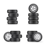 Set of tires for cars Royalty Free Stock Photos