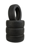 Set of tires isolated on white Stock Photo