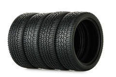Set of tires. Set of miniature tires isolated on white Stock Image