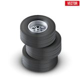 Set Tires and wheels of car. Top view. Vector Stock Photos