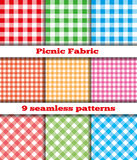 Set of tissue samples for a picnic. Set of nine samples checkered cloth for a picnic. Seamless texture. Tablecloth, fabric, material, textile Stock Photo
