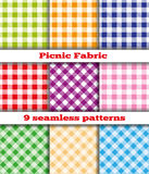 Set of tissue samples for a picnic. Set of nine samples checkered cloth for a picnic. Seamless texture. Tablecloth, fabric, material, textile Stock Images