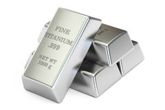 Set of titanium ingots closeup, 3D rendering. Set of titanium closeup, 3D rendering on white background Stock Photo