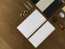 Set tożsamość elementy na rocznika drewna tle Fotografia Stock