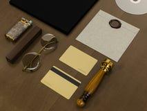 Set tożsamość elementy na rocznika drewna tle Obraz Stock