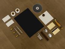 Set tożsamość elementy na rocznika drewna tle Obraz Royalty Free
