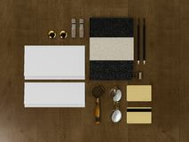 Set tożsamość elementy na rocznika drewna tle Obrazy Royalty Free
