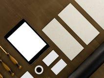 Set tożsamość elementy na rocznika drewna tle Obrazy Stock