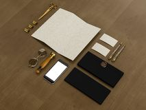 Set tożsamość elementy na rocznika drewna tle royalty ilustracja