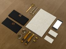 Set tożsamość elementy na rocznika drewna tle ilustracji