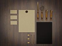 Set tożsamość elementy na rocznika drewna tle Zdjęcia Royalty Free