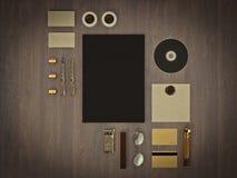 Set tożsamość elementy na rocznika drewna tle Zdjęcie Royalty Free