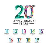 Set 11 to 20 anniversary years abstract triangle modern full color. Celebration logo vector Vector Illustration