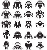Set to 8 Bit pixel robot collection Stock Photos