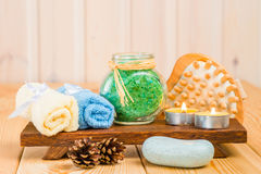 Set to cleanse the skin in a bath close-up Stock Images
